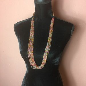 Handmade necklace multi layer long beaded necklace